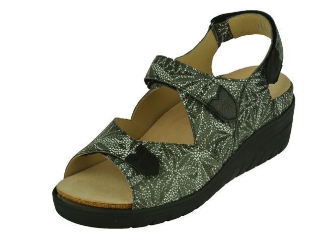 De damesschoen durea comfort sandaal sandalen in de kleur zwart print durea klittenbandsandaal. kleur zwart ...